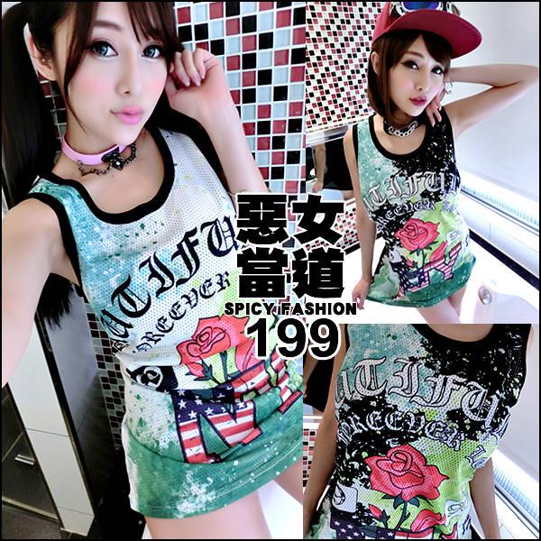 ☆克妹☆現貨+預購【AT45269】1990辛辣龐克字母玫瑰洞洞網運動背心洋裝