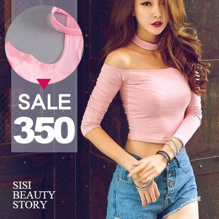 SiSi Girl:SISI【L6007】甜美性感掛脖後背T字露肩ㄧ字肩領連袖短款棉質長袖緊身露肚臍上衣
