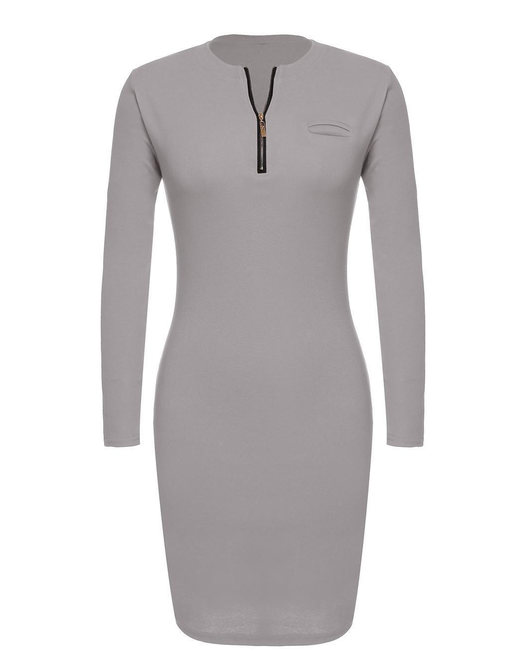Women Career Long Sleeve Stretch Bodycon Slim Dress 1