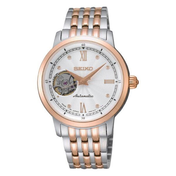 Seiko Presage 4R38-00K0KS(SSA124J1)雙色經典羅馬透視機械腕錶/白面34mm