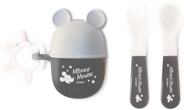 日本 迪士尼 Disney 米奇攜帶餐具叉子+湯匙組 附收納盒~灰★衛立兒生活館★