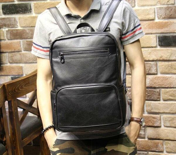 FINDSENSEZ1韓國時尚潮男皮質休閒運動學生包書包電腦包旅行包後背包雙肩包