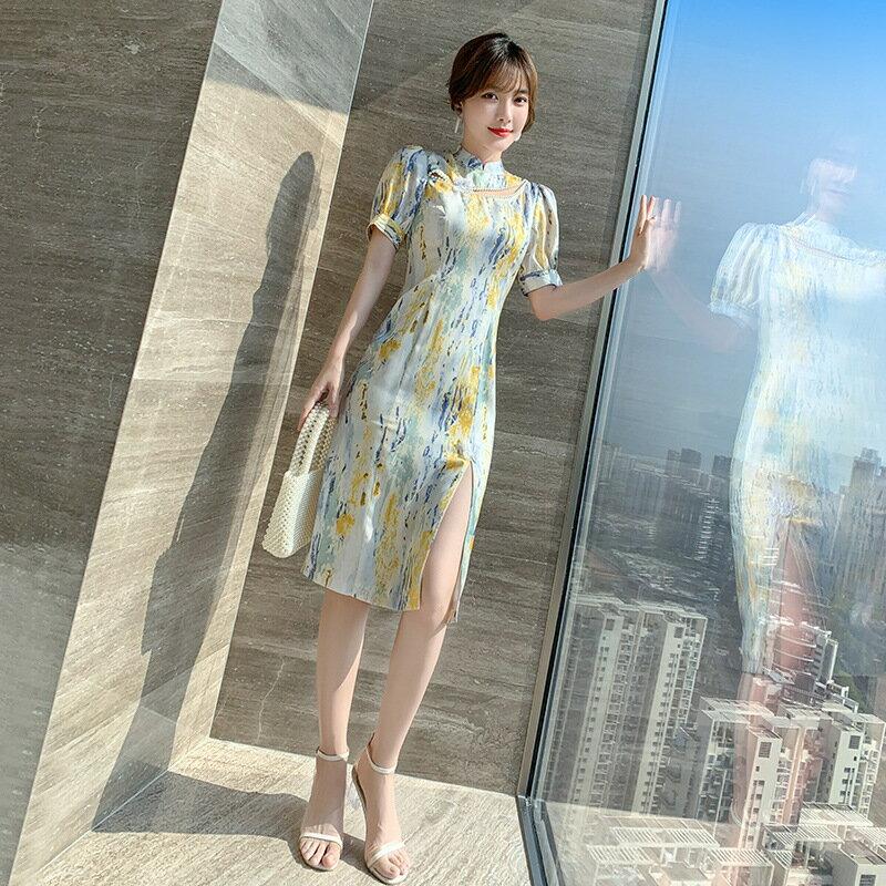 中國風女裝復古年輕款裙子2021夏季新款改良版旗袍連衣裙