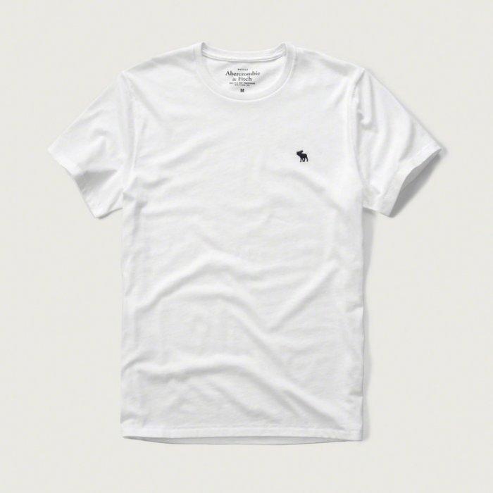 美國百分百【Abercrombie & Fitch】T恤 AF 短袖 上衣 T-shirt 麋鹿 素T 白色S M L XL號 E709