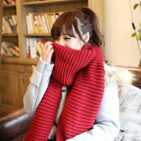 77美妝:單色粗針針織百搭中性款保暖圍巾