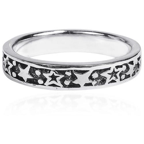 Planet and Stars Around Band Sterling Silver Ring 0