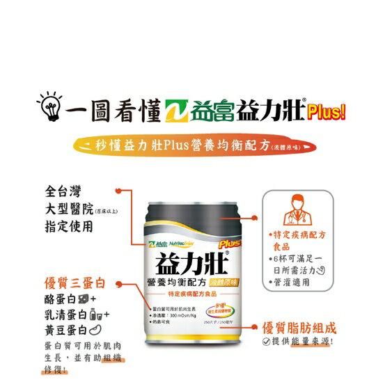 永大醫療~益富  益力壯Plus! 營養均衡配方 液體原味 (24罐/250ml) 1箱1000元~3箱免運費
