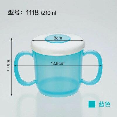 嬰兒童帶蓋雙耳學飲杯自備吸管寶寶小孩帶手柄防漏塑料水杯子