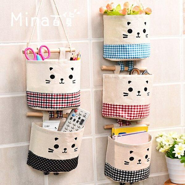 貓咪棉麻卡通組合掛袋 收納掛袋 牆壁掛袋 儲物掛袋 門後掛袋 整理袋 懸掛式【F0275】(mina百貨)