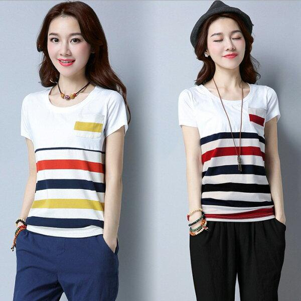 糖衣子輕鬆購【GH1089】韓版時尚百搭休閒寬鬆條紋T恤上衣