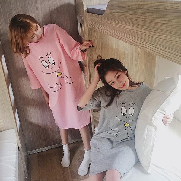 泡泡先生 洋裝 居家服 睡衣 長版寬鬆上衣 短袖T 可愛粉紅大眼睛笑臉 正韓 babarp