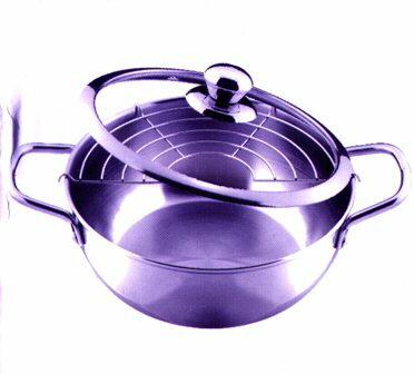 【珍昕】 多功能不鏽鋼炸煮通用鍋22cm