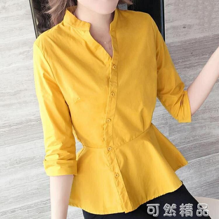 夏季女裝韓版新款時尚氣質裙擺襯衣收腰顯瘦五分袖V領襯衫潮