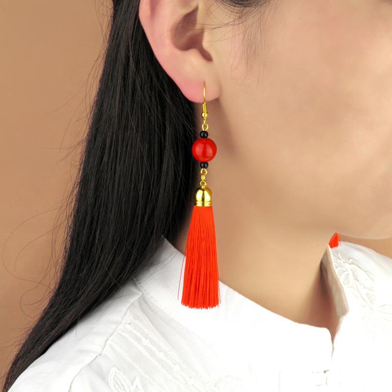 紅色古典民族風氣質耳墜女復古風漢服流蘇耳環中國風超仙少女耳飾1入