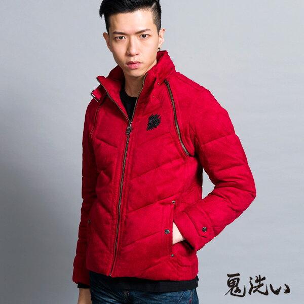 【秋冬精選】仿毛呢拉克藍穿脫袖羽絨外套(紅)-BLUEWAYONIARAI鬼洗