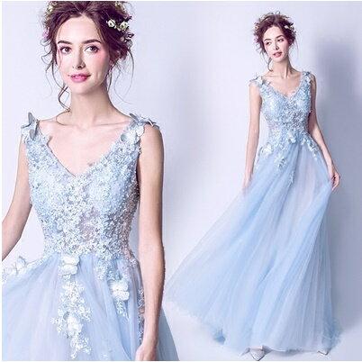 天使嫁衣【AE1333】淺藍色立體蝴蝶花片V領托尾長禮服˙預購訂製款