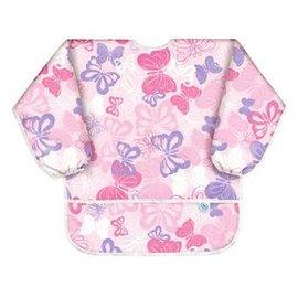 【淘氣寶寶】【美國Bumkins】防水兒童3-5歲防水圍兜(長袖)-粉紅蝴蝶 BKAS-241【保證公司貨】