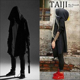 風衣外套‧暗黑系斗篷連帽長版風衣外套‧一色‧加大尺碼【NTJD045】-TAIJI-