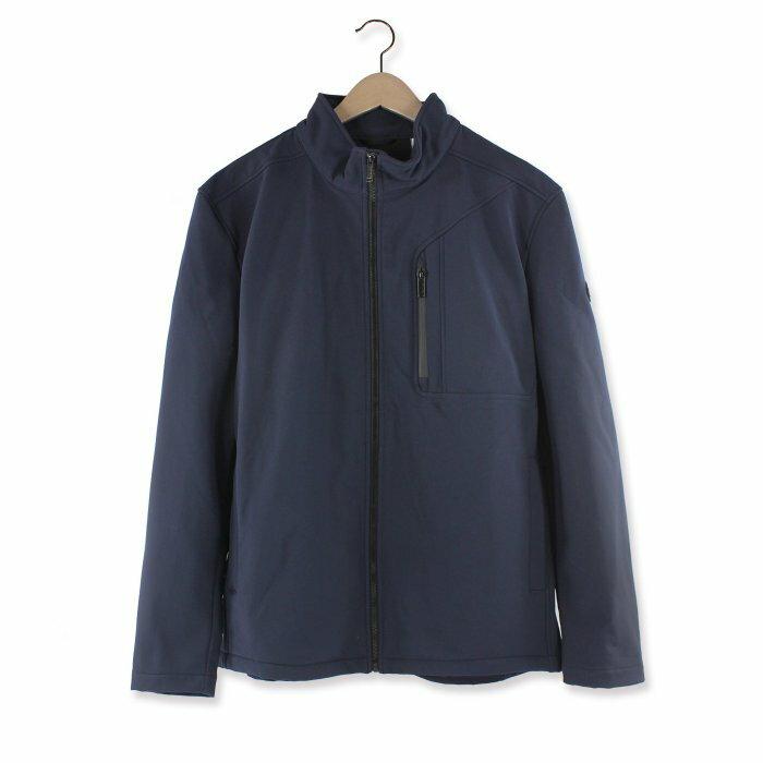 美國百分百【Calvin Klein】外套 CK 夾克 防風 防潑水 透氣 保暖 立領 軟殼 深藍 S號 I666