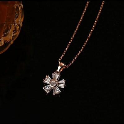 ~純銀項鍊 鍍18K金水晶吊墜~優雅花形 生日情人節 女飾品73dn16~ ~~米蘭 ~
