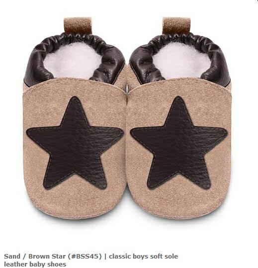 【hella 媽咪寶貝】英國 shooshoos 安全無毒真皮手工鞋/學步鞋/嬰兒鞋 棕色大星星(公司貨)(麝皮)