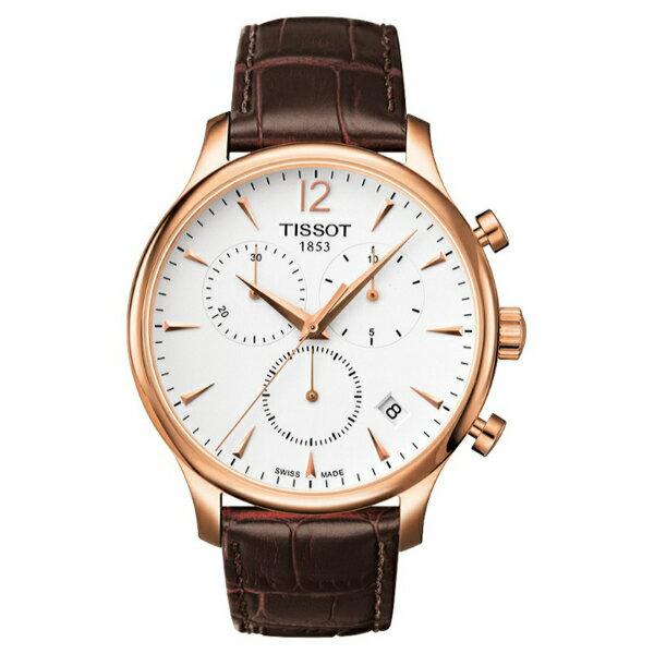 TISSOT天梭T0636173603700 TRADITION玫瑰金經典計時石英腕錶/白面42mm