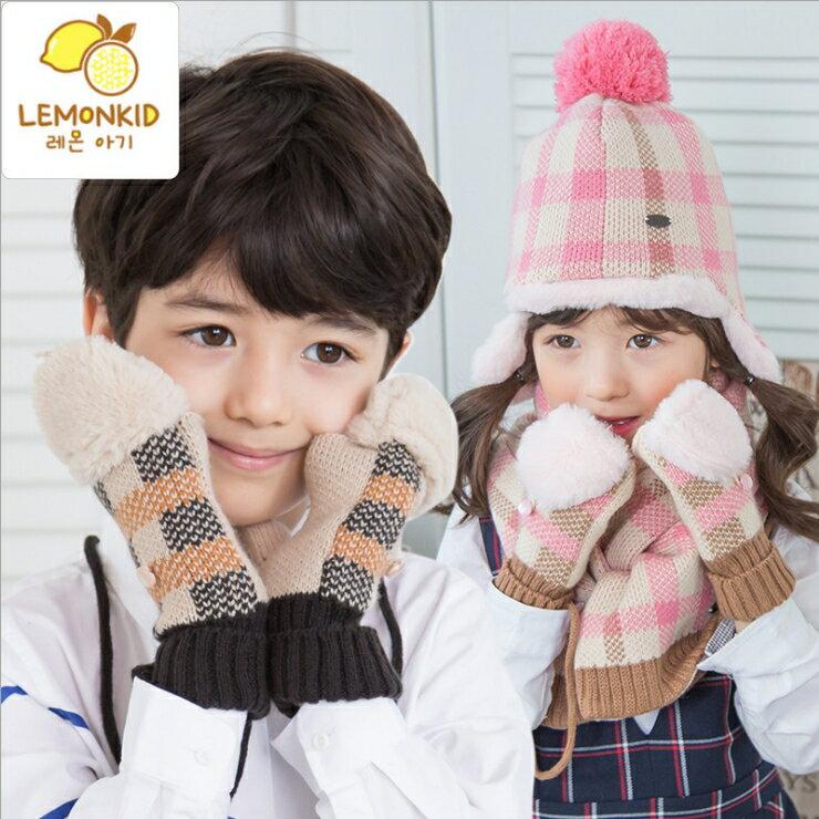 WallFree窩自在★秋冬經典百搭格紋舒適保暖兒童翻蓋手套