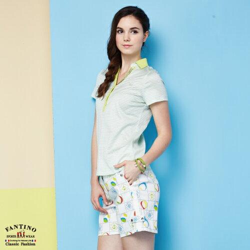 【FANTINO】女裝 夏日清新感80支雙絲光棉polo衫 (粉綠、紅) 571101-571102 2