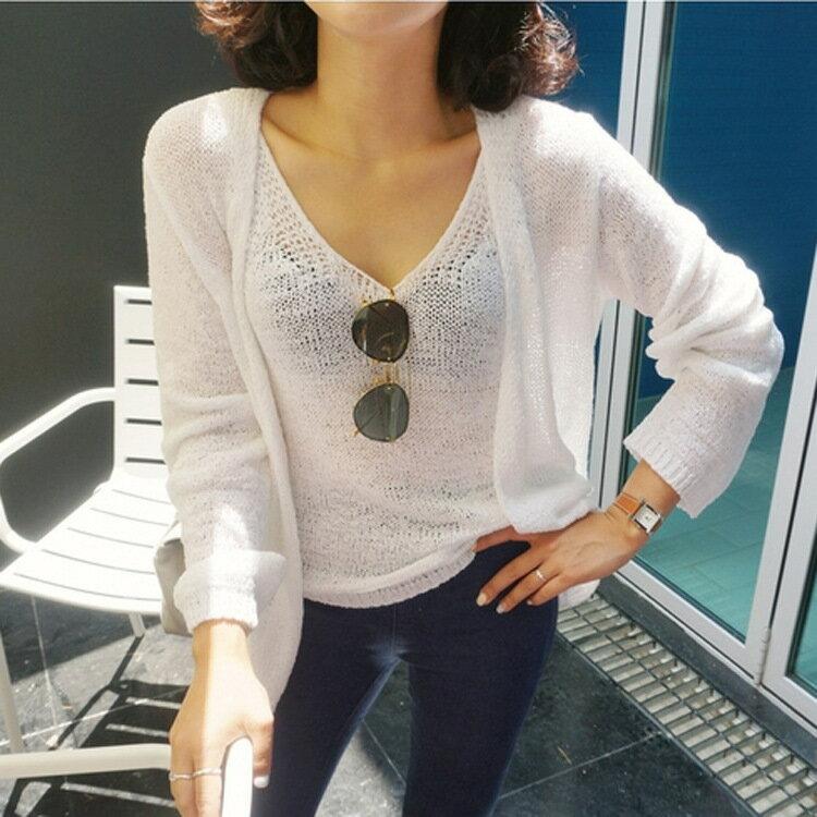 PS Mall 復古氣質 小清透背心 開衫外套兩件套裝~T2490~ ~  好康折扣