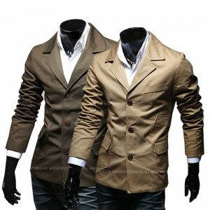 2014秋裝새로운 男士韓味個性時尚多口袋設計百搭修身夾克 外套