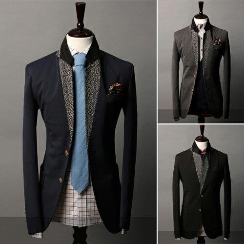 2014春季最新時尚個性拼接撞色設計男士休閒西裝 男式大氣夾克