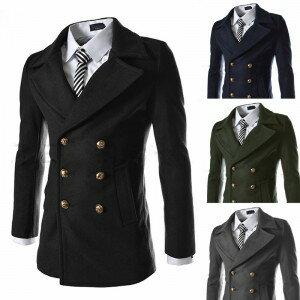 2014秋冬새로운 韓味個性金屬時尚雙排扣中長款男式毛呢大衣 外套