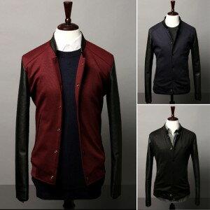 2014男式最新時尚韓味個性袖子拼皮撞色羅紋下擺休閒夾克 外套
