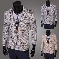 男生面試服裝穿著西裝推薦到椰子樹時尚印花 單扣 西裝外套 十天預購就在窩克yes99buy樂天分店推薦男生面試服裝穿著西裝