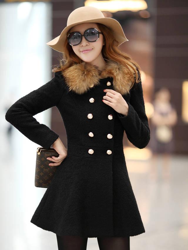 上衣 毛呢外套 冬季修身羊毛領雙排扣修身 呢子大衣(黑色)