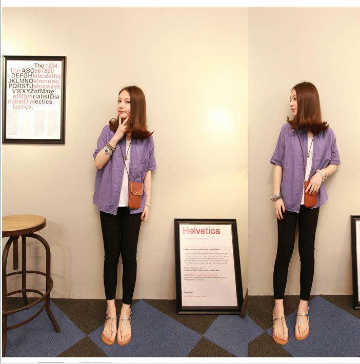 衫 清新半透明格紋翻領短袖防曬시퐁셔츠襯衫外套(紫色)