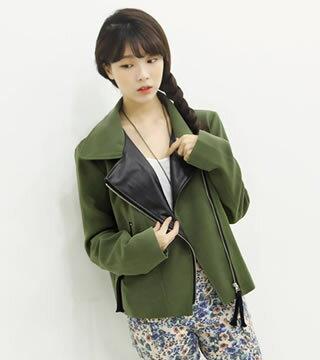 秋冬新款女裝 上衣 寬鬆百搭韓味拼PU皮短款風衣外套夾克女裝(軍綠色)