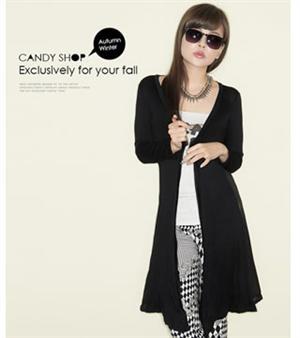 秋冬新款女裝 南亞風情之後背拼接시퐁 셔츠雪紡透視外套(黑色)
