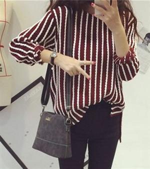 秋冬新款女裝 衫 2014秋裝復古甜美百搭顯瘦豎條紋針織衫長袖圓領(酒紅色)
