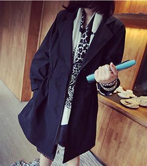 女裝 上衣 2014韓范 休閒潮流大碼顯瘦收腰女裝外套風衣^(黑色^)