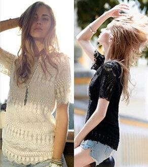 秋冬新款女裝 衫 上衣 2014歐美風鏤空蕾絲衫시퐁 셔츠雪紡衫 女夏裝새로운女裝上衣短袖襯衫打底衫(兩色入)