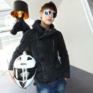 2014韓味新品春款男士外套 獨特連帽側拉鏈男款夾克 男式休閒夾克