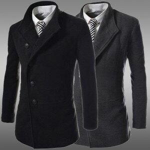 2014秋冬새로운 韓味個性皮領時尚裝飾中長款外套 男士單排扣呢大衣