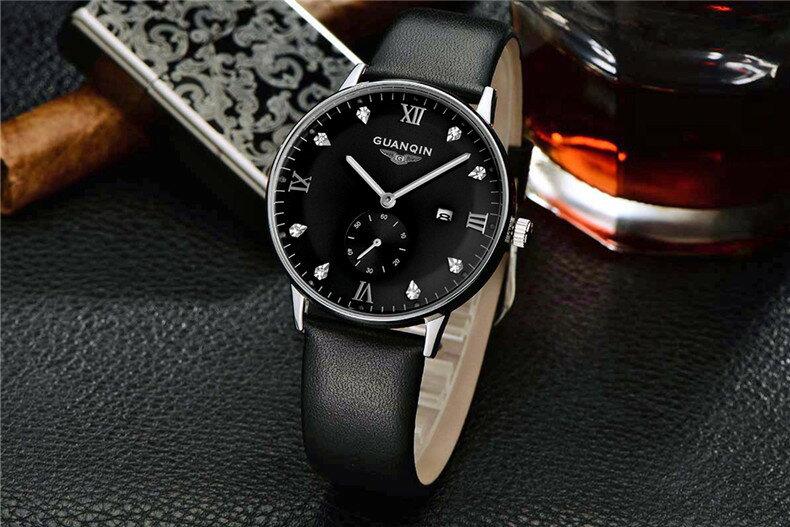 瑞士冠琴皮帶手錶夜光男士腕表真皮石英手錶