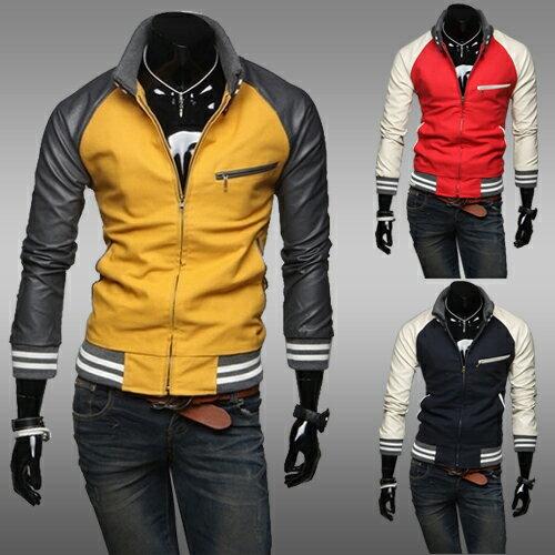2014男式最新個性針織領皮袖拼接撞色休閒外套 男士百搭修身夾克