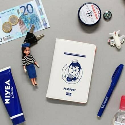 護照包-藍國oohlala手作塗鴉荔枝紋多功能外出/旅行護照夾 護照包 名片夾【AN SHOP】