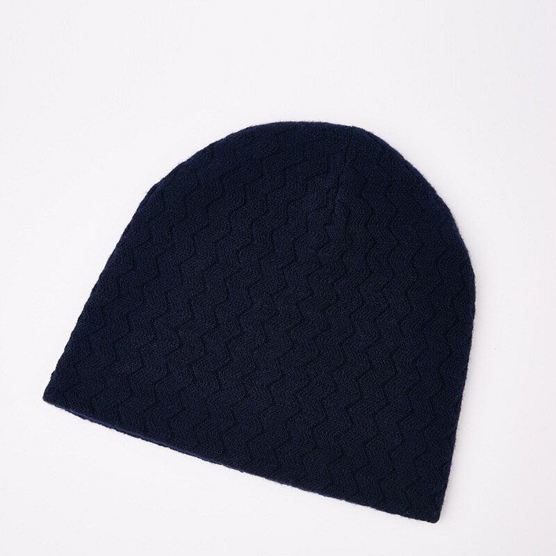 毛帽羊毛針織帽-純色毛線波浪紋防寒男帽子5色73wj22【獨家進口】【米蘭精品】 2