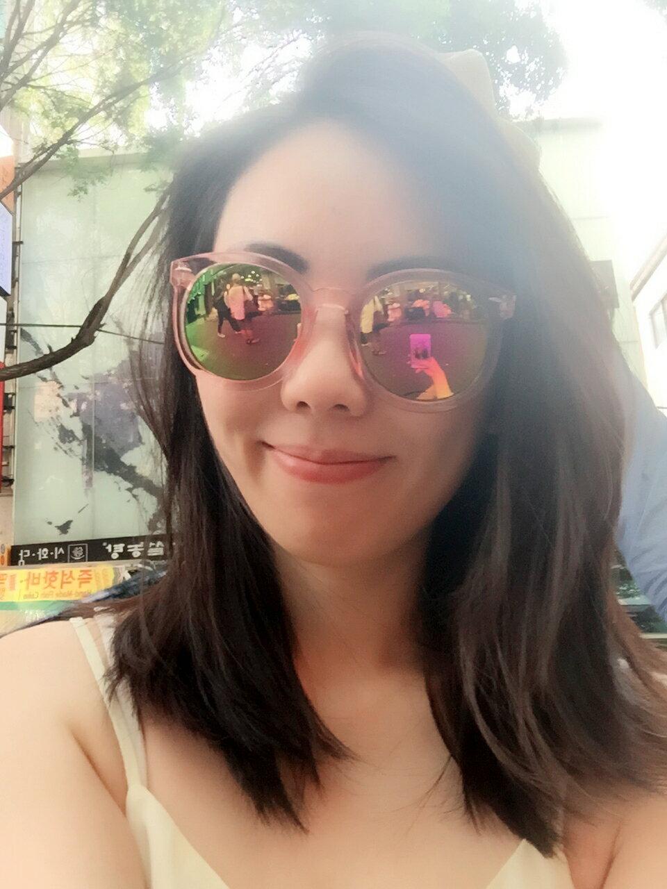 歐美鏡面粉紅透明鏡架太陽眼鏡