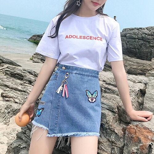 高腰牛仔裙褲半身裙(2色S~XL)*ORead* 0