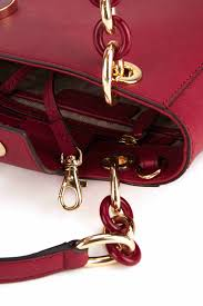【MICHAEL KORS】MK 正品 Cynthia Small Saffiano Leather Satchel 防刮皮革兩用典雅黛妃包 (金扣\櫻桃紅\小) 2